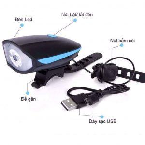 Đèn pin xe đạp kết hợp còi USB chống nước chất lượng
